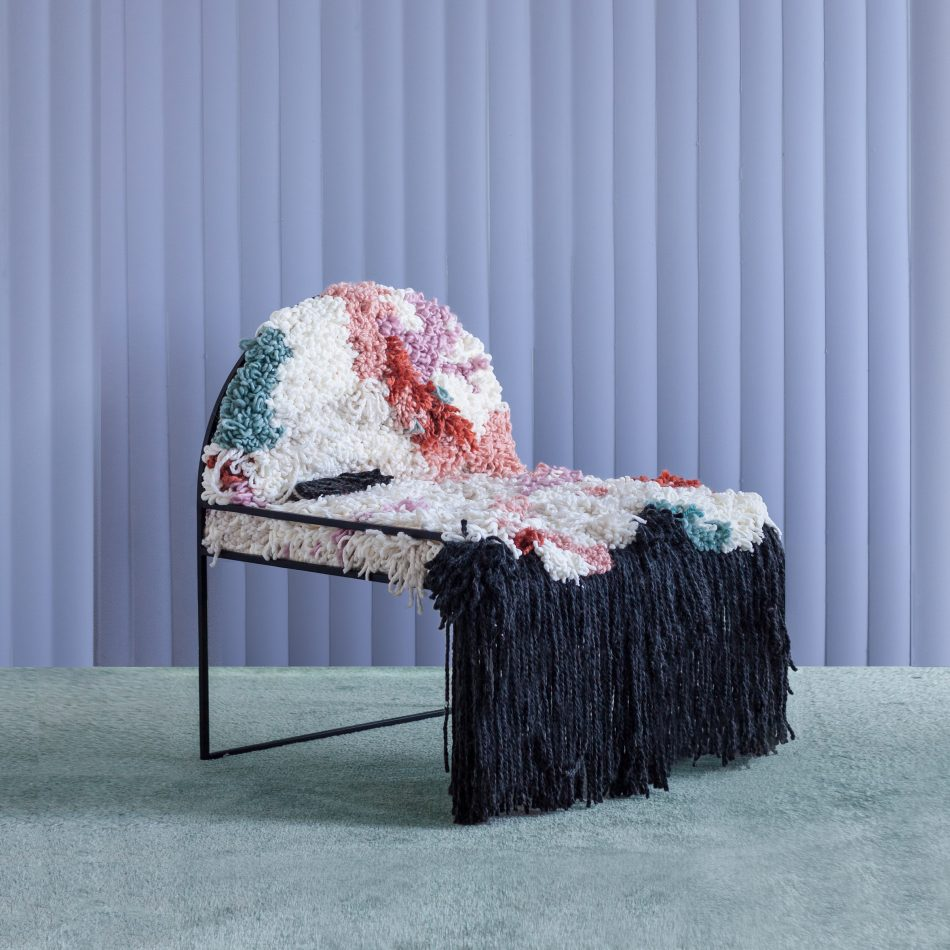 fluffy chair, wool soft Soft-Geometry Studio – The senses and tradition SW HandwovenWoolChair3 4 scaled